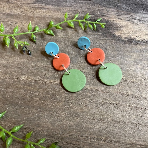 Hand Crafted Jewelry - Hand crafted three tier polymer clay earrings